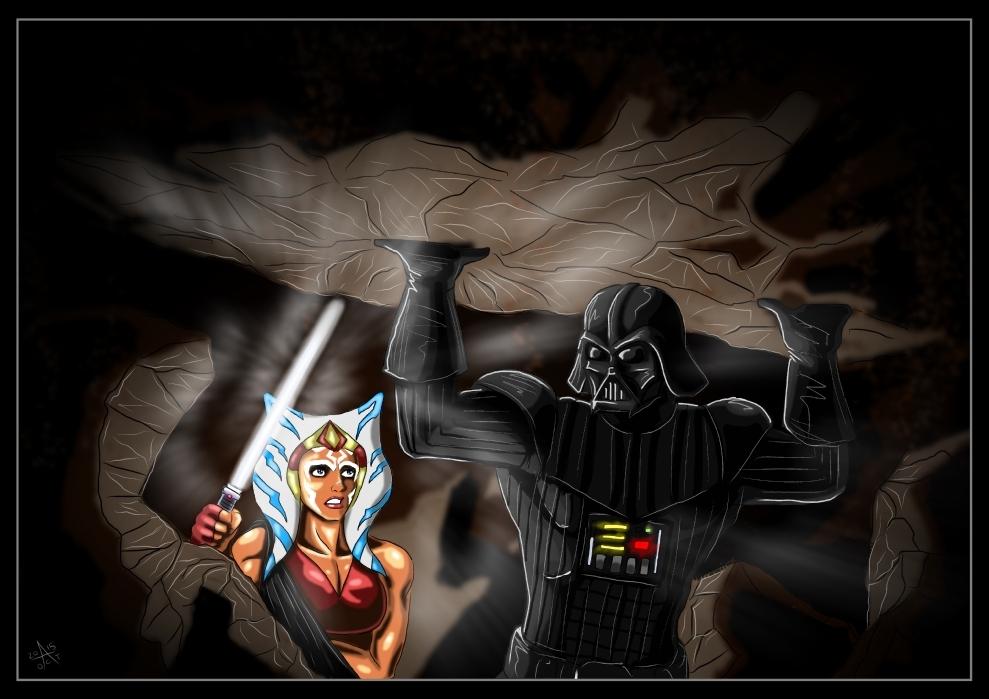 Ahsoka Tano and Darth Vader - Dark Savior by adamantis