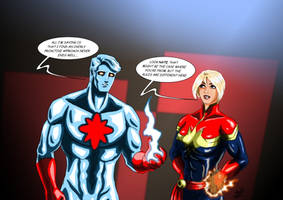 Captain Atom ( DC ) / Captain Marvel ( MARVEL ) by adamantis
