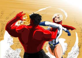 Power Girl ( DC ) Vs Red Hulk ( MARVEL ) by adamantis
