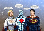 Powergirl, Captain Atom and Superman - DC Movie