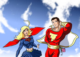 Supergirl and Captain Marvel by adamantis