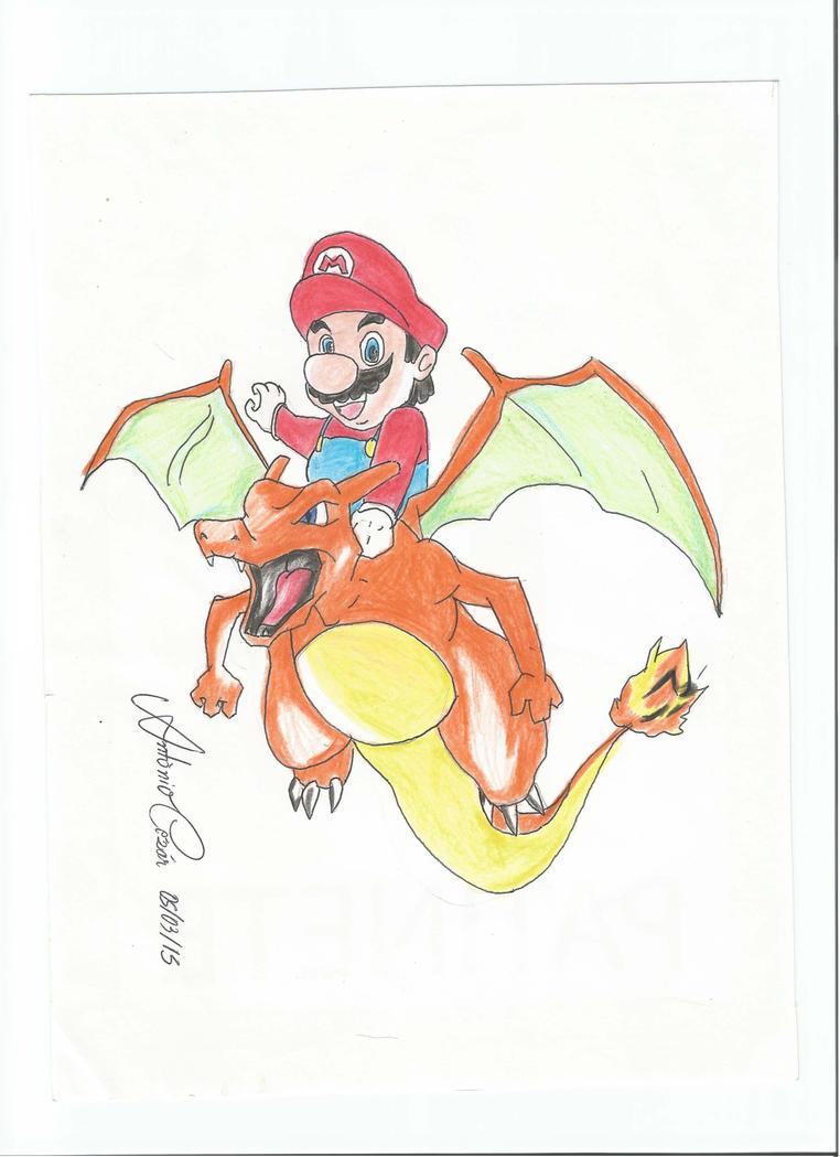 Mario and Charizard by antoniocezar