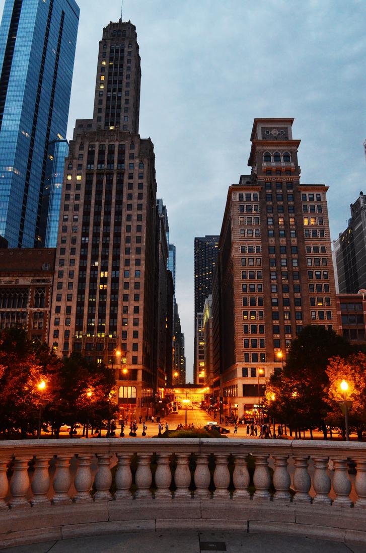 Chicago at dusk by maerocks