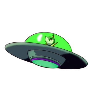 Servine riding an UFO by GhostFalcon642