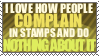 Complaining in stamps by AyaneYeti