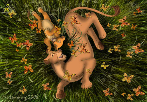 Nala, Kiara, and Butterflies by Simbamarasa