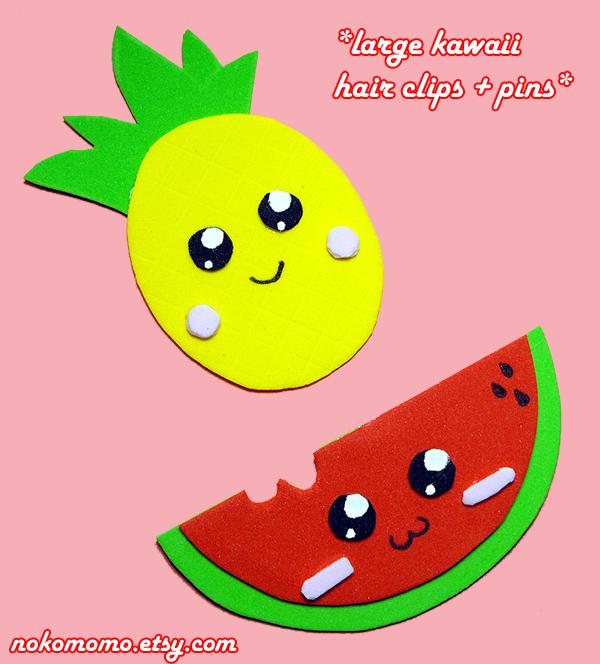 Kawaii Fruits Hair Clip n Pins by nokomomo
