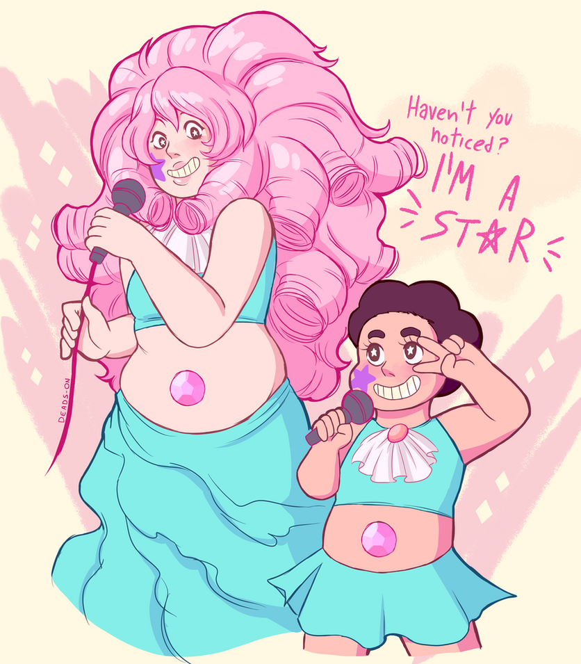 I had to draw something quick. I loved that episode. And I feel as they'd be super proud of each other! Steven is obviously standing on a stage prop or something. see on my tumblr more SU art: