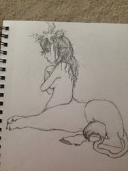 Deer lion thing lady by IchiNOGO