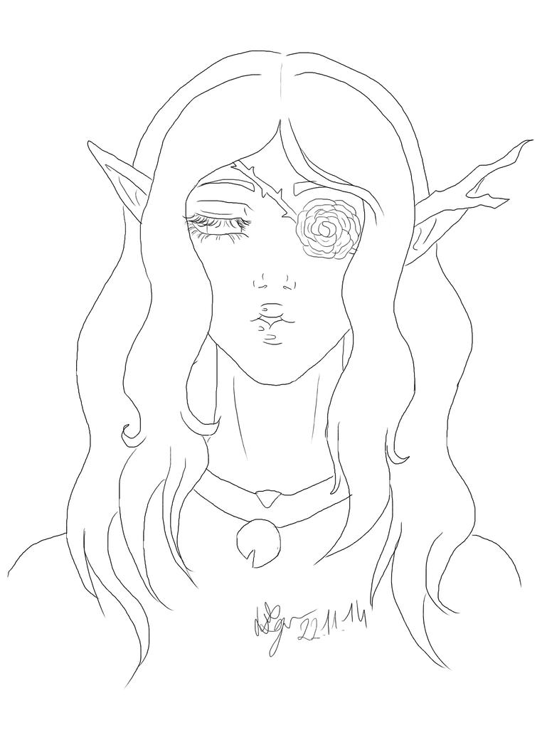 High Elf Kathalia Lineart by keyko020988