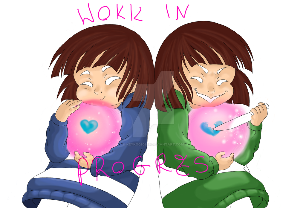 Frisk and Chara work in progress 3 by keyko020988