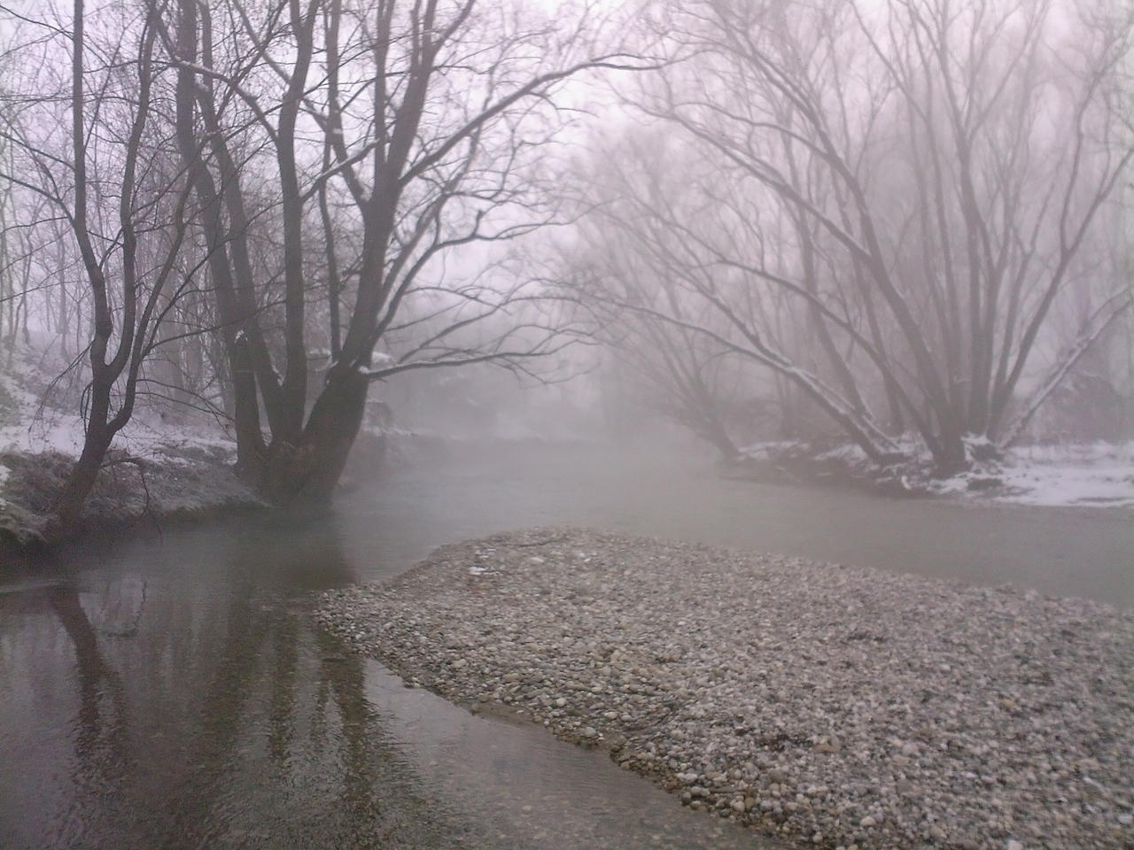 River with snow and fog 01 by Simbores