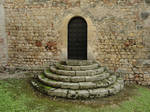 Medieval door with stairs