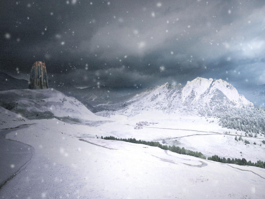 Castle in the snow - Premade background by Simbores