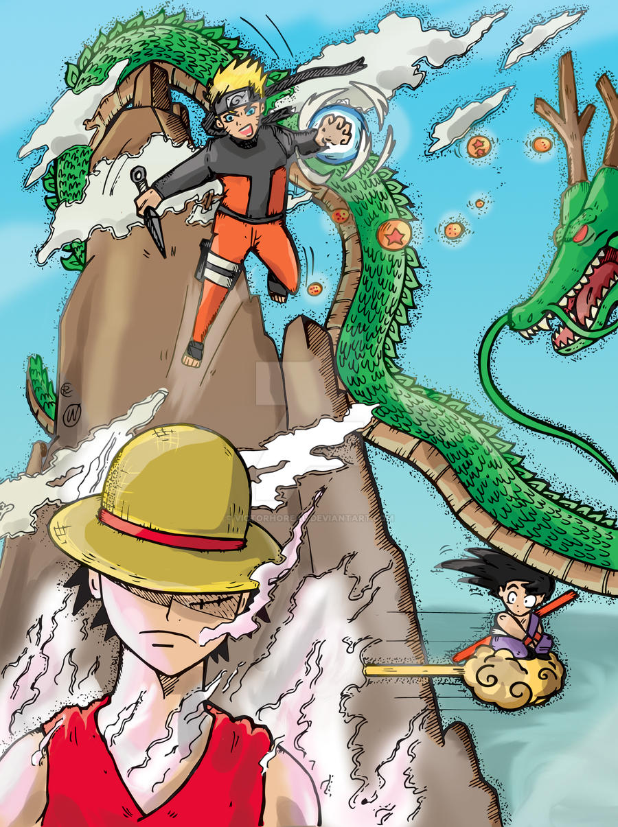 Crossover - Naruto - One Piece - Dragonball by VictorHoreau