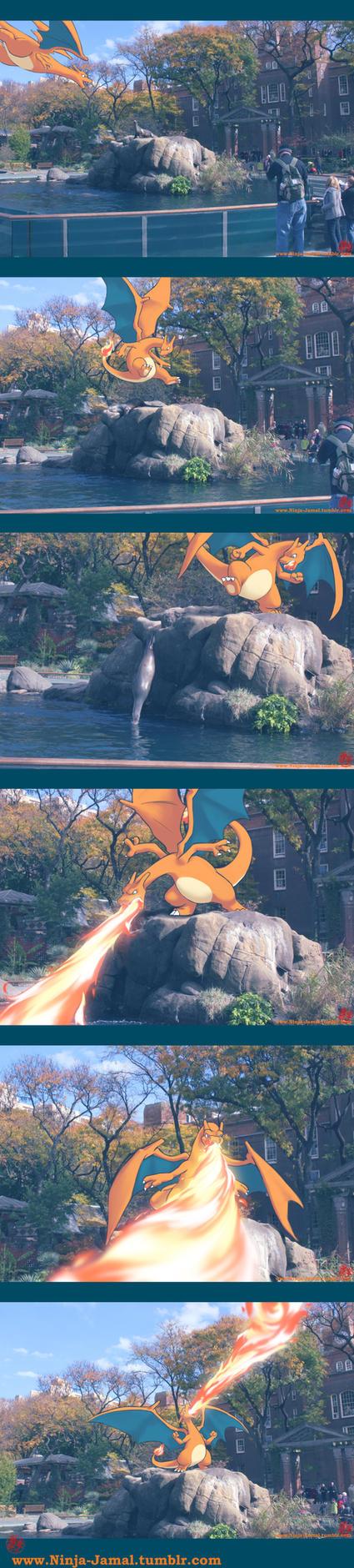 Wild CHarizard in NY by Ninja-Jamal