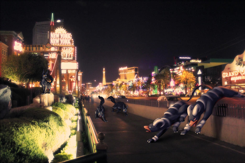 Wild Houndoom and Mightyena in Vegas by Ninja-Jamal