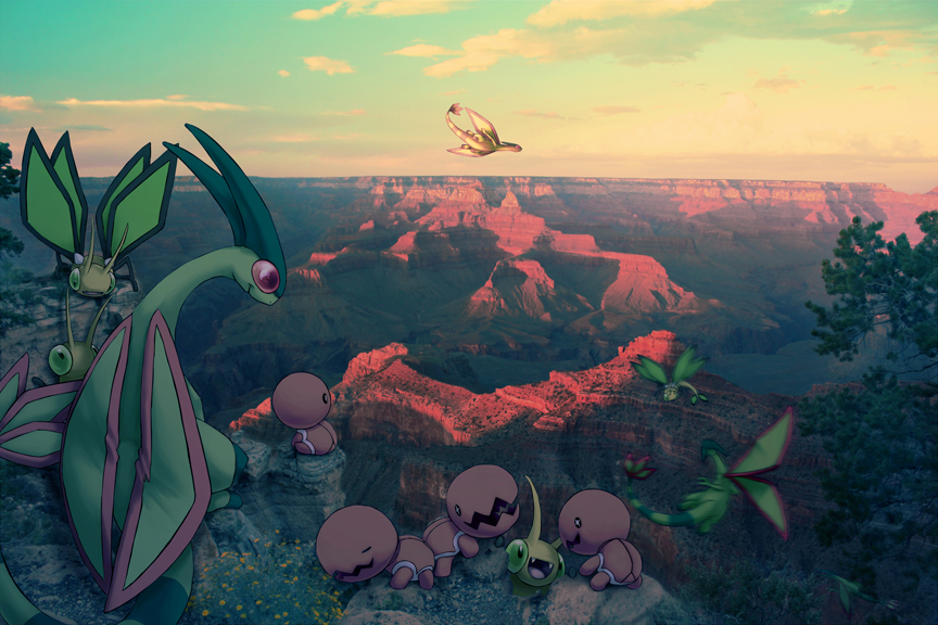 Wild Flygon Families in Grand Canyon by Ninja-Jamal
