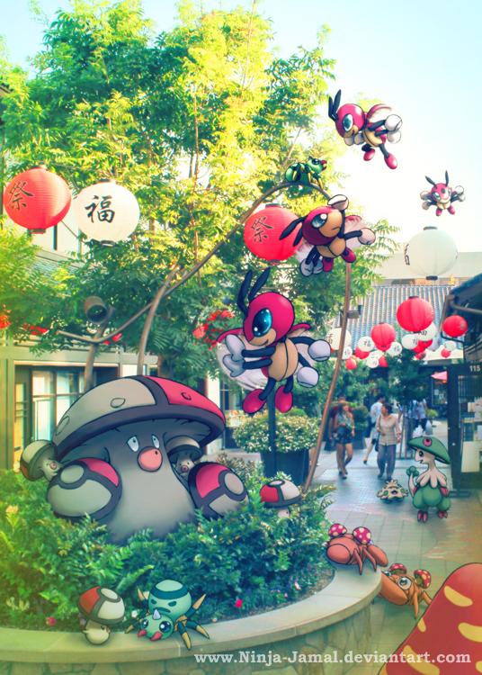 Wild Pokemon chilling at LIttle Tokyo by Ninja-Jamal