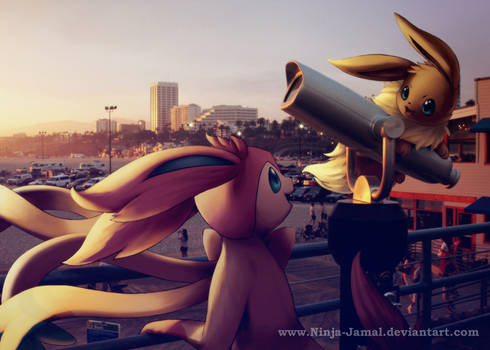 Wild Sylveon and Eevee by the sea