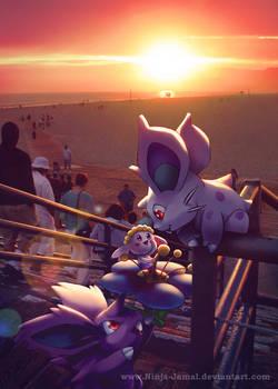 Wild Pokemon with a California Sunset.
