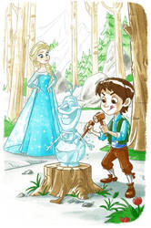Elsa watching Fredmund work