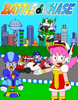 Megaman: Battle and Chase Poster by Cuddlesnowy