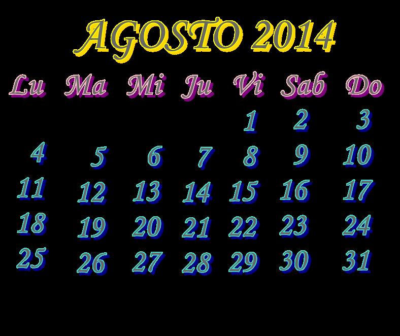 Calendario AGOSTO 2014 PNG by MajoLeeMin on deviantART