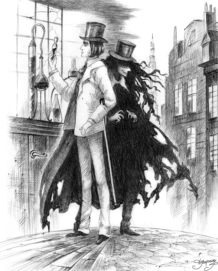 It is a graphic of Unusual Dr Jekyll And Mr Hyde Drawing