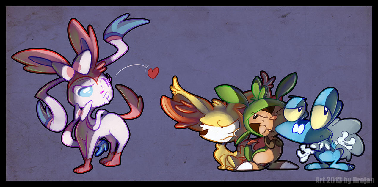sylveon fennekin chespin and froakie by drojan on deviantart