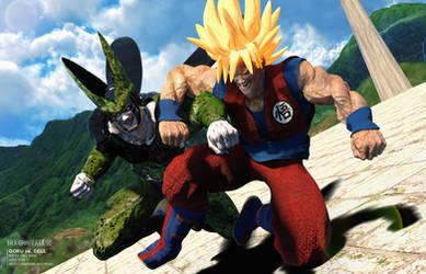 Dragonball Z- Super Saiyan Goku vs. Cell by JArtistfact