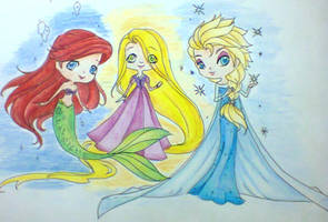 Ariel , Rapunzel and Elsa by Charming-Manatee
