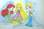 Ariel , Rapunzel and Elsa