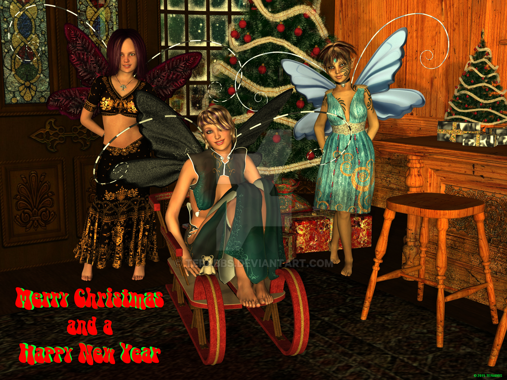 Merry Christmas and a Happy new year from 3 Pixies by TERABBS