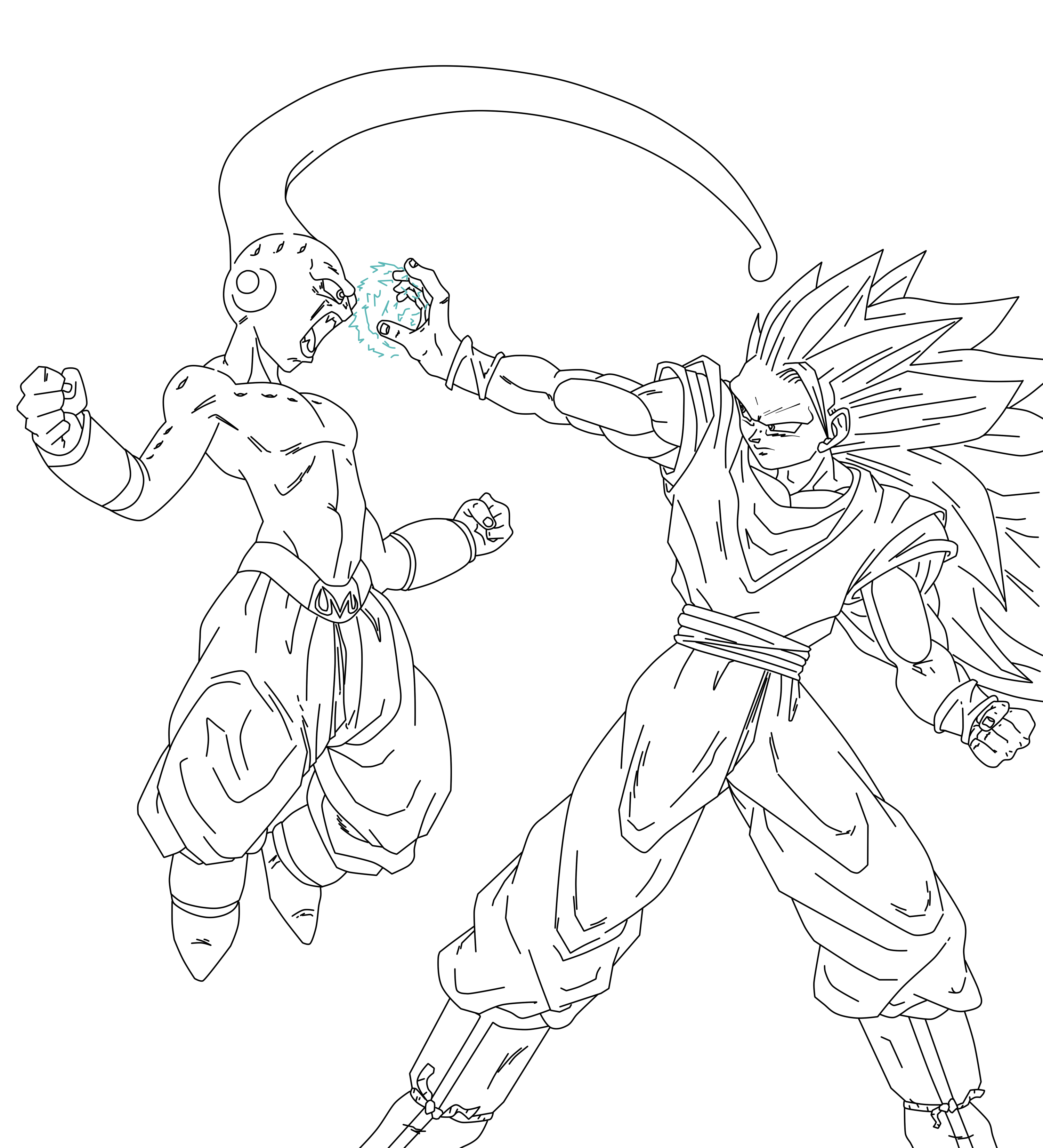 Line Drawing Vs Value Drawing : Goku vs majin bu line art by suekumaru on deviantart
