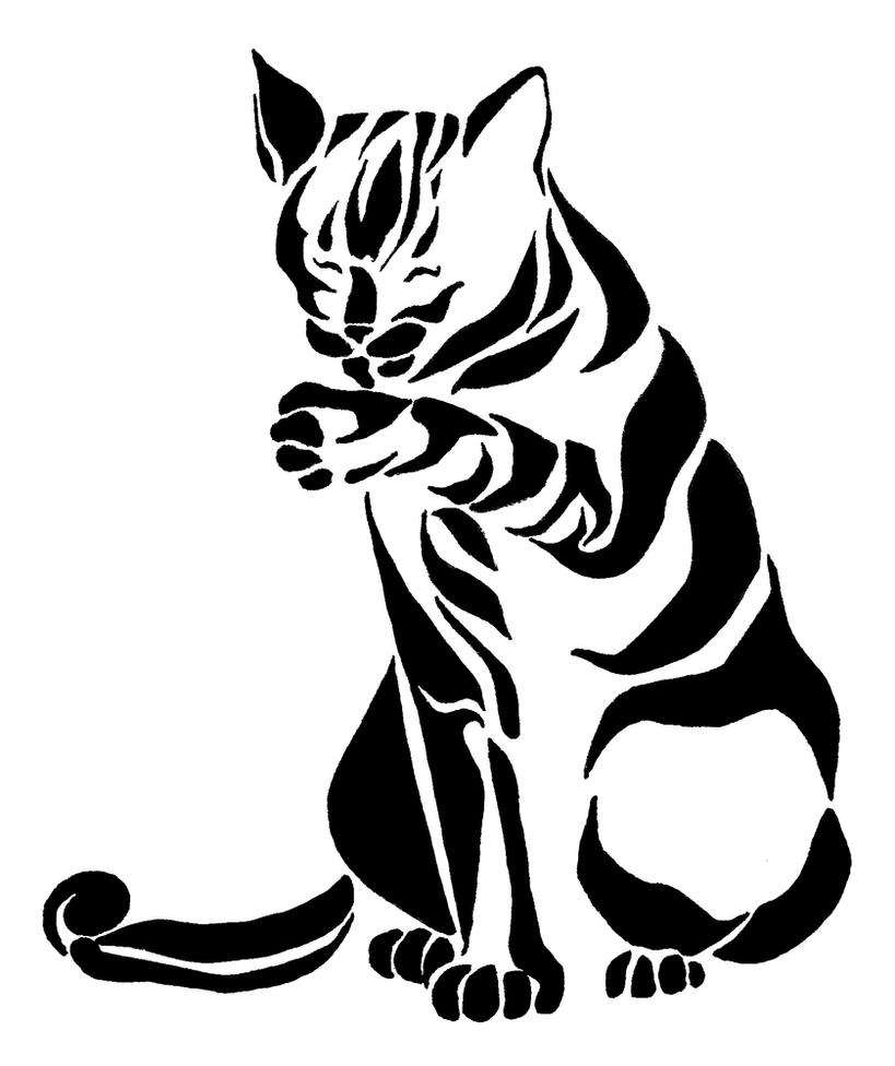 Line Art Animals Tattoo : Tribal cat by picajosan on deviantart