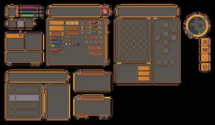 Pixel art RPG Golden UI
