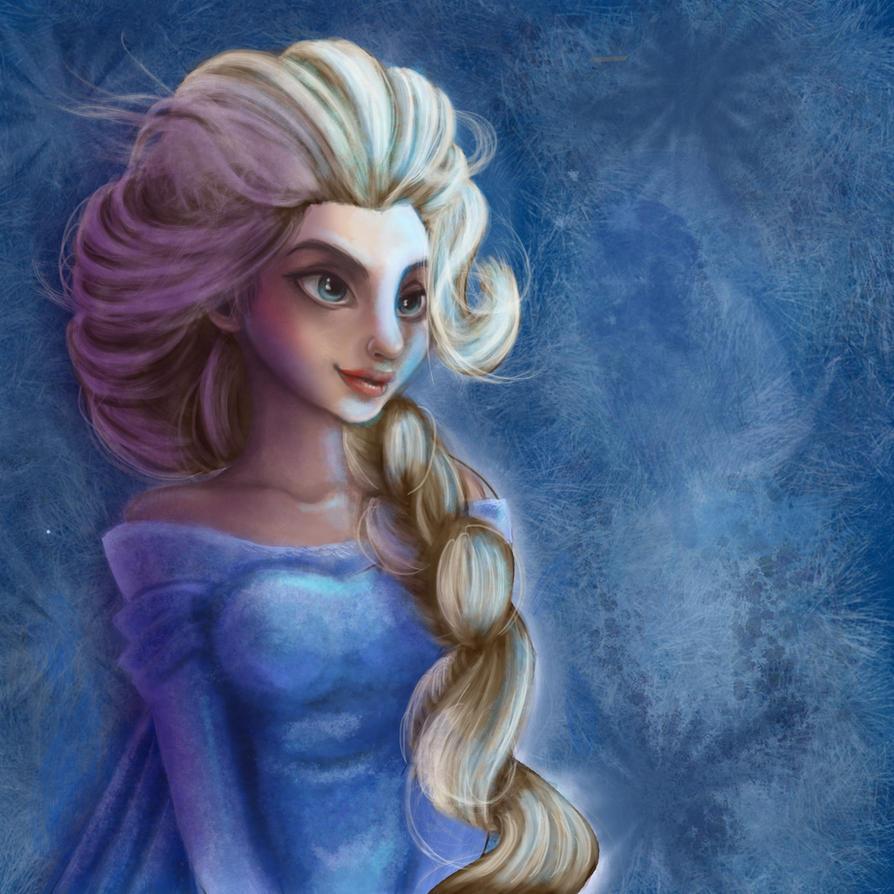 Elsa  with a lot of hair by mokacarbonara