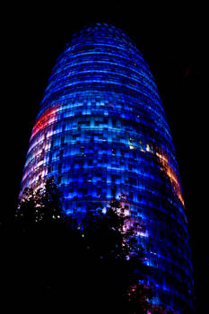 Torre Agbar by night.