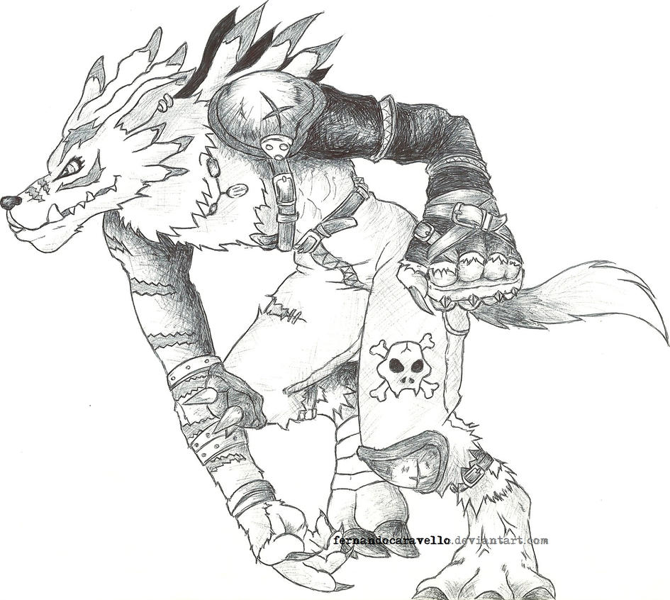 digimon weregarurumon coloring pages - photo#28