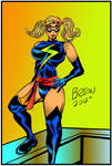 Ms. Marvel with Pigtails Pinup drawing Colored