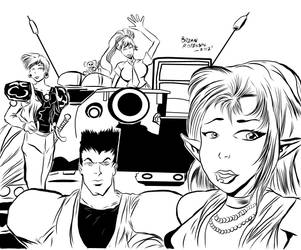 Those Who Hunt Elves Artwork -Inked by brianrobinson