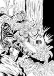 Jungle woman in jungle fighting off Tiger pinup