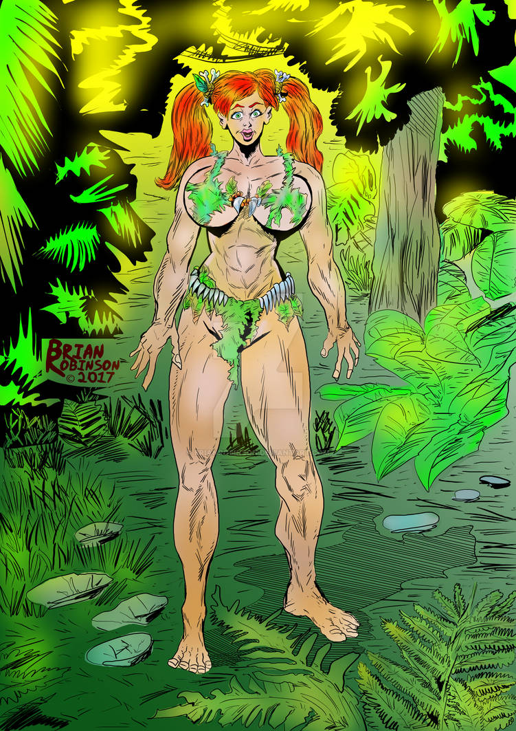 Pigtailed Jungle woman Colored pinup drawing