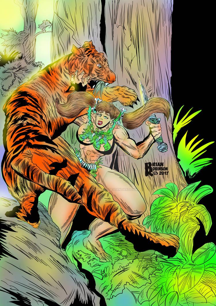 Jungle woman jungle fightingTiger pinup Colored