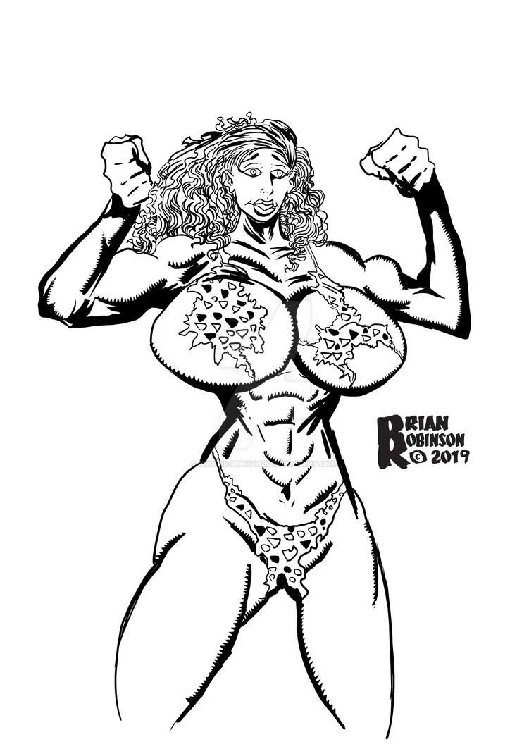 Cavewoman pinup drawing