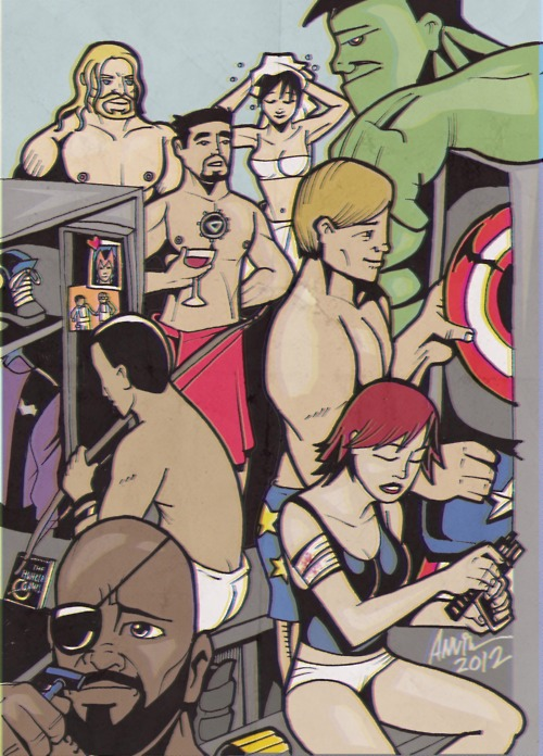 The AVENGERS LOCKER ROOM by ambush007