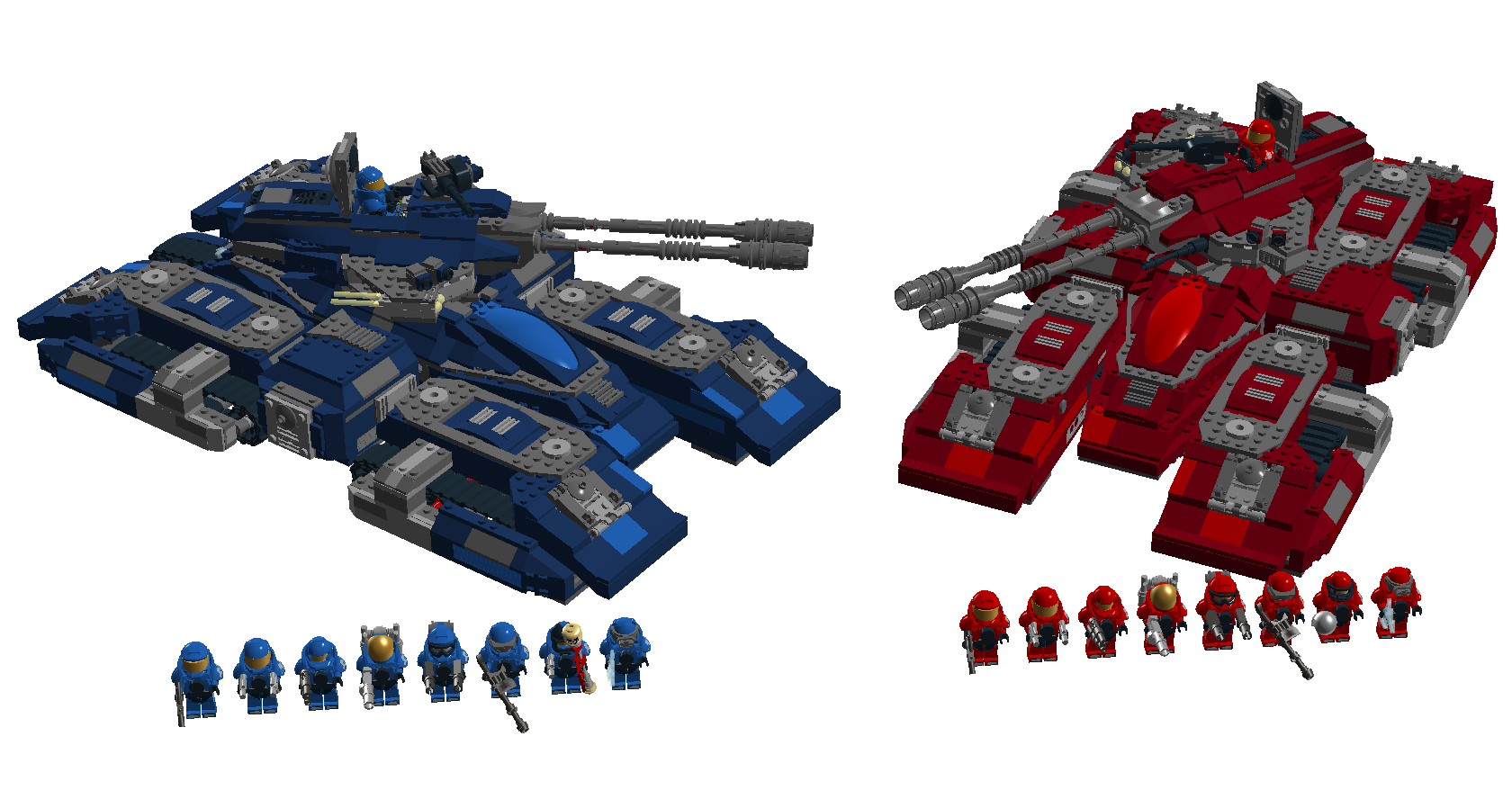 Lego halo red vs blue grizzly tanks by aurik kal durin - Lego spartan halo ...