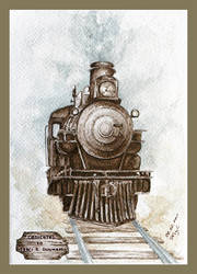 Steam locomotive - watercolors by czajka