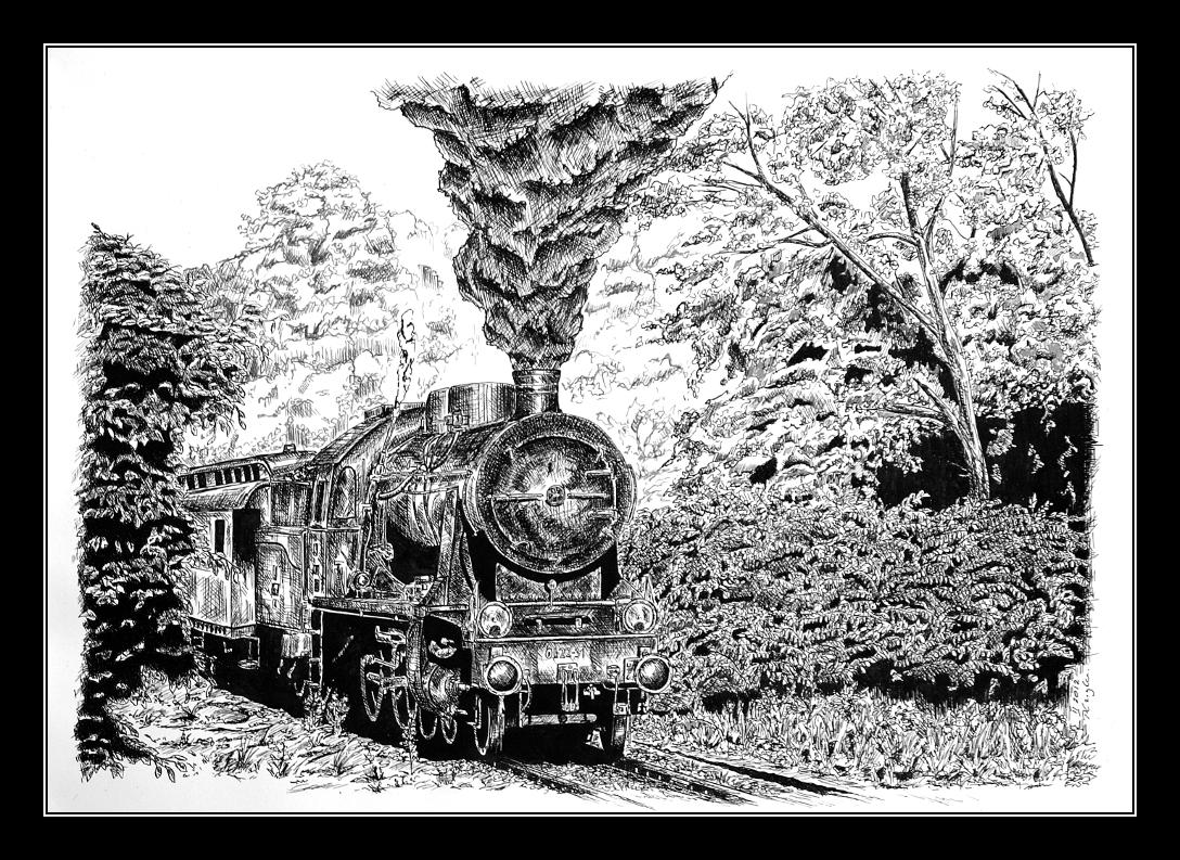 Steam locomotive Ok22 - pen and ink. by czajka